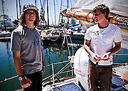 Zac Sunderland, USA and Mike Perham, UK meet for the first time. Zac and Mike are both aiming to be the youngest to solo-circumnavigate the world.