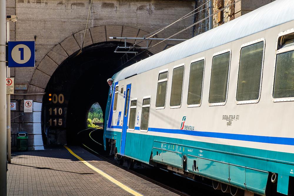 MONTEROSSO AL MARE, ITALY - CIRCA MAY 2015:  View of train station in Cinque Terre, Italy.