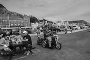 Man on a customised mobility scooter, top speed 8 mph, Pirate day, Hastings. 17 July 2016