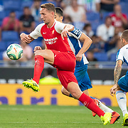 BARCELONA, SPAIN - August 18:  Luuk De Jong #19 of Sevilla in action during the Espanyol V  Sevilla FC, La Liga regular season match at RCDE Stadium on August 18th 2019 in Barcelona, Spain. (Photo by Tim Clayton/Corbis via Getty Images)