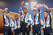 """Olympic Games London 2012 <br /> Boxing Medalists' Press Conference at Team GB House, Stratford, London, Great Britain <br /> 13th August 2012 <br /> <br /> """"Britain's boxers finished top of the pile with five medals, three of them Gold plus a Silver and  Bronze"""".<br /> <br /> Gold Medalists <br /> <br /> Anthony Joshua <br /> (Super Heavy)<br /> <br /> Luke Campbell (Bantamweight) <br /> <br /> Nicola Adams (Flyweight) <br /> <br /> Fred Evans (Welterweight)<br /> Silver medal <br /> <br /> <br /> Anthony Ogogo <br /> Middleweight<br /> Bronze medal <br /> <br /> Photograph by Elliott Franks"""