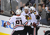 24 May 2014 The Blackhawks Celebrate their Second Goal of The Game during Game 3 of The Western Conference Final between The Chicago Blackhawks and The Los Angeles Kings AT The Staples Center in Los Angeles Approx NHL Ice hockey men USA May 24 Stanley Cup Playoffs Western Conference Final Blackhawks AT Kings Game 3 <br />