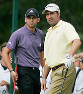 Sergio Garcia (L) and Jose Maria Olazabal on the 18th tee box during a practice round at Baltusrol Golf Club Springfield, NJ Tuesday 9 August 2005.