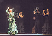 16/02/2016. Flamenco Festival London, Sadler's Wells' renowned annual season of flamenco dance and music returns with Spain's foremost flamenco superstar Sara Baras. In Voces, Suite Flamenca, directed, staged, and choreographed by Baras, the versatile artist from Cádiz pays homage to artists like Paco de Lucía, Camarόn de la Isla and Carmen Amaya, all of whom have had an enormous impact on her as a performer. Pictures feature Sara Baras.