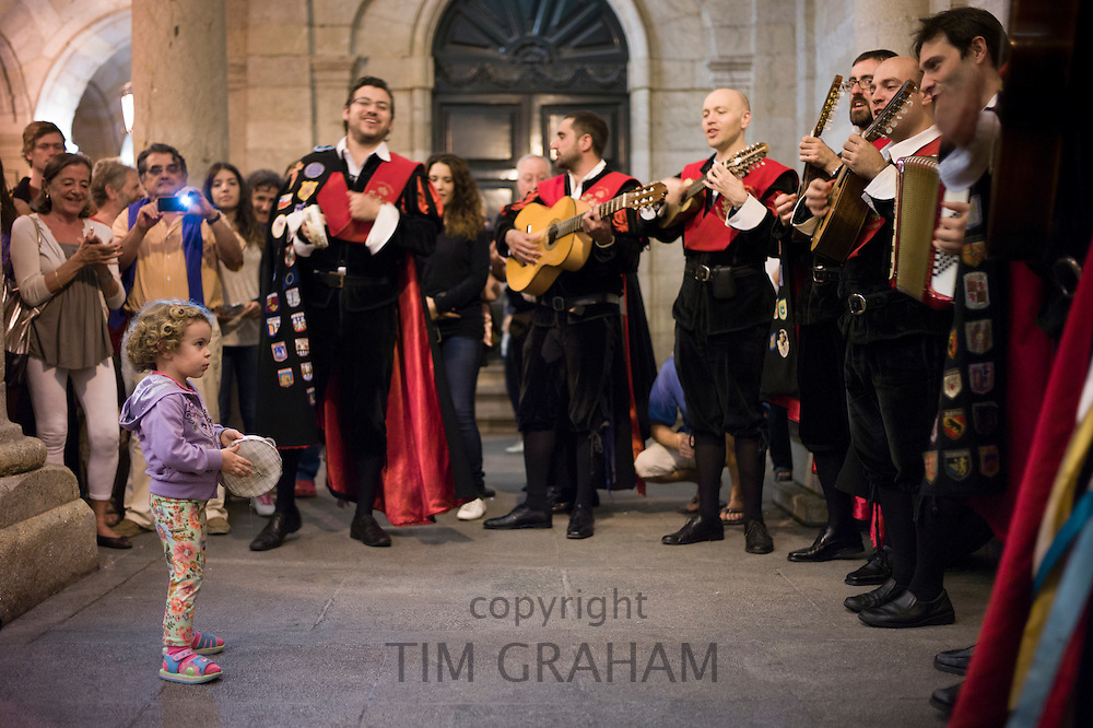 Traditional singers seranading in the streets of Santiago de Compostela in Galicia, Northern Spain