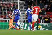 Save by Middlesbrough goalkeeper Darren Randolph (23)  from Ipswich Town forward Freddie Sears (20)  during the EFL Sky Bet Championship match between Middlesbrough and Ipswich Town at the Riverside Stadium, Middlesbrough, England on 29 December 2018.