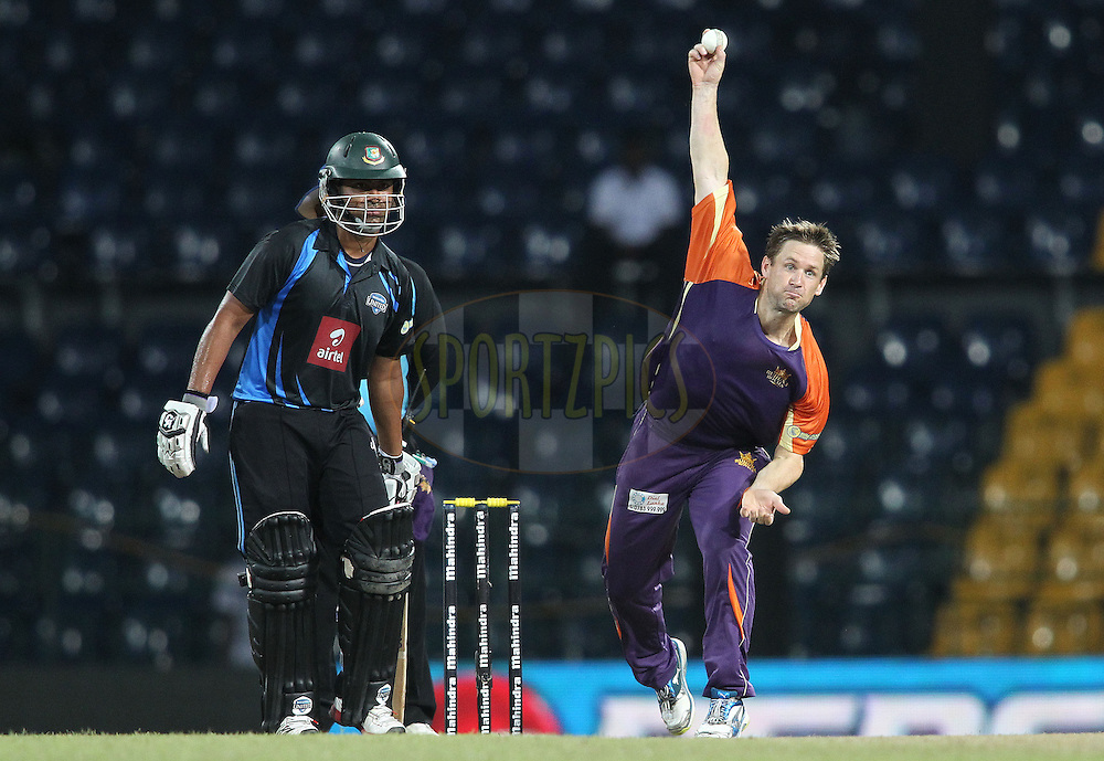 Daniel Harris of Ruhuna Royals sends down a delivery during match 20 of the Sri Lankan Premier League between Ruhuna Royals and Wayamba United held at the Premadasa Stadium in Colombo, Sri Lanka on the 26th August 2012. .Photo by Shaun Roy/SPORTZPICS/SLPL