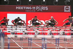 February 7, 2018 - Paris, Ile-de-France, France - From left to right : Florian Some of France, Benjamin Sedecias of France, Jonathan Cabral of Canada, Simon Krauss of France, Damina Czykier of Poland  compete in 60m Hurdles during the Athletics Indoor Meeting of Paris 2018, at AccorHotels Arena (Bercy) in Paris, France on February 7, 2018. (Credit Image: © Michel Stoupak/NurPhoto via ZUMA Press)