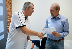 Iztok Rems of KZs and Guenther Ballinger of Spalding - UHLSport signing a new contract at the press conference  in a Andel's Hotel during Eurobasket 2009, on September 15, 2009 in  Lodz, Poland.  (Photo by Vid Ponikvar / Sportida)