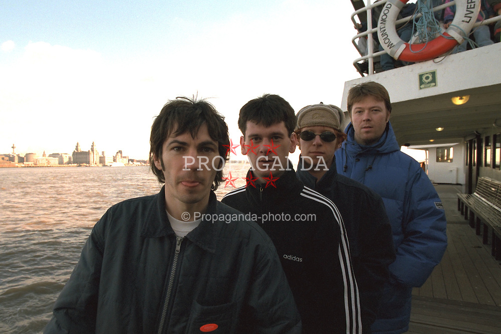 LIVERPOOL, ENGLAND - Liverpool band Space photographed on a Mersey Ferry in Liverpool. Tommy Scott, Andy Parle, Jamie Murphy, Franny Griffiths. (Pic by David Rawcliffe/Propaganda)