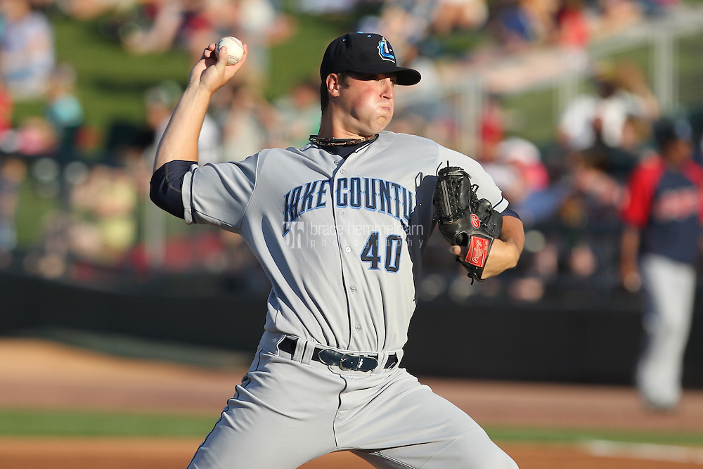 Lake County Captains pitcher Cody Anderson #40 during a game against the Dayton Dragons at Fifth Third Field on June 25, 2012 in Dayton, Ohio. Lake County defeated Dayton 8-3. (Brace Hemmelgarn)