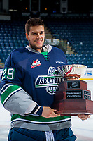 KELOWNA, CANADA - APRIL 30: Matt Berlin #29  of the Seattle Thunderbirds holds the Western Conference Cup on April 30, 2017 at Prospera Place in Kelowna, British Columbia, Canada.  (Photo by Marissa Baecker/Shoot the Breeze)  *** Local Caption ***