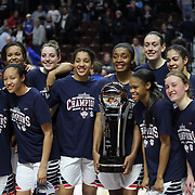 The UConn Huskies during the trophy presentation after winning the the UConn Huskies Vs USF Bulls 2016 American Athletic Conference Championships Final. Mohegan Sun Arena, Uncasville, Connecticut, USA. 7th March 2016. Photo Tim Clayton