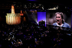 A tribute to Gerry Gow on the big screen during the Professional Footballers' Association Awards 2017 at the Grosvenor House Hotel, London
