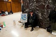 Roma 22 Dicembre 2011.Un gruppo di attivisti precari e precarie del movimento San Precariò ha occupato il quinto piano della sede dell'Inps di dell'Amba Aradam a Roma.Chiedono un incontro con il ministro del Welfare, Elsa Fornero