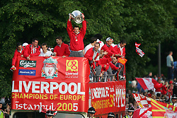 LIVERPOOL, ENGLAND - THURSDAY, MAY 26th, 2005: Liverpool players Luis Garcia, Jamie Carragher, Dietmar Hamann, Steven Gerrard and John Arne Riise parade the European Champions Cup on on open-top bus tour of Liverpool in front of 500,000 fans after beating AC Milan in the UEFA Champions League Final at the Ataturk Olympic Stadium, Istanbul. (Pic by David Rawcliffe/Propaganda)