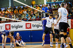 Stembergar Zupan Andrej of Calcit Volley and Stern Ziga of ACH Volley during volleyball match between Calcit Volley and ACH Volley in Final of 1. DOL Slovenian Man national Championship 2016/17 on 24th of April, 2017 in Kamnik, Slovenija.  Photo by Grega Valancic / Sportida