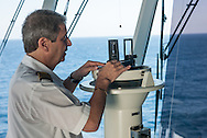 Commodore Giuseppe Romano on the bridge. Commodore Giuseppe Romano on the bridge. From aboard the M/V Ruby Princess sailing from Ft. Lauderdale to Princess Cays, Bahamas.