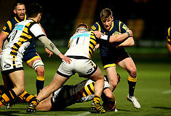 Alex Hearle of Worcester Cavaliers is tackled by Tom West of Wasps A - Mandatory by-line: Robbie Stephenson/JMP - 03/04/2017 - RUGBY - Sixways Stadium - Worcester, England - Worcester Cavaliers v Wasps A - Aviva A League
