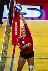 BLOOMINGTON, IL - September 14: Stef Jankiewicz during a college Women's volleyball match between the ISU Redbirds and the University of Central Florida (UCF) Knights on September 14 2019 at Illinois State University in Normal, IL. (Photo by Alan Look)