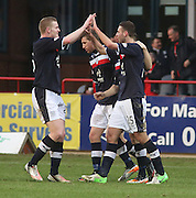Dundee's Lewis Toshney is congratulated by Brian Easton after scoring - Dundee v Greenock Morton, William Hill Scottish Cup 5th Round at Dens Park .. - © David Young - www.davidyoungphoto.co.uk - email: davidyoungphoto@gmail.com