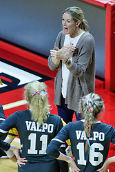 BLOOMINGTON, IL - October 12: Carin Avery during a college Women's volleyball match between the ISU Redbirds and the Valparaiso Crusaders on October 12 2018 at Illinois State University in Bloomington, IL. (Photo by Alan Look)