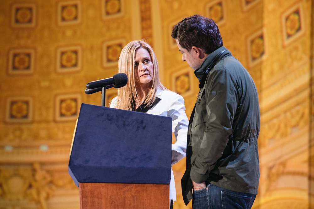 Samantha Bee goes through rehearsals with husband Jason Jones the day before Full Frontal with Samantha Bee's Not the White House Correspondents' Dinner at D.A.R. Constitution Hall in Washington D.C. on April 28, 2017.