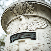 The Cuban Friendship Urn in East Potomac Park in Washington DC. It commemorates the sinking of the USS Maine in 1898 and was presented by the Cuban government to President Calvin Coolidge in 1928. This shot shows the eagle and inscription on the southwest face.