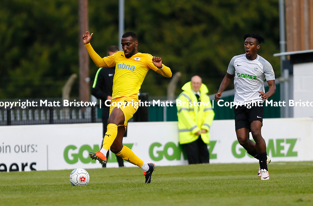SEPTEMBER 1y6:  Dover Athletic against Chester FC in Conference Premier at Crabble Stadium in Dover, England. Doveer ran out emphatic winners 4 goal to nothing. Chester's Lathaniel Rowe-Turner gathers the ball, while Dover's forward Kadell Daniel is bearing down on him. (Photo by Matt Bristow/mattbristow.net)