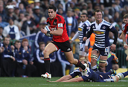 Crusaders wing Sean Maitland heads to the try line to score during the Super Rugby Semi-Final match between DHL Stormers and the Crusaders held at DHL Newlands Stadium in Cape Town, South Africa on 2 July 2011...Photo by Shaun Roy / Sportzpics.net