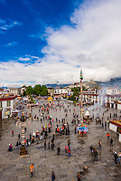Barkhor Square with the Potala Palace in background, Lhasa, Tibet (Xizang), China.