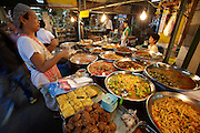 Food stalls at Tha Thien Express Boat station. Curries.