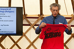 © Licensed to London News Pictures. 04/06/2016. Hay-on-Wye, Powys, Wales, UK.  Controversial Climatologist/Meteorologist Piers Corbyn, brother of the Labour leader, Jeremy Corbyn, gives a presentaion about the hoax of man made global warming on the tenth day of 'HowTheLightGetsIn' Festival of Ideas - The philosophy and music festival at Hay-on-Wye, Wales, UK. HowTheLightGetsIn festival was founded by post-realist philosopher and director of the Institute of Art and Ideas, Hilary Lawson. Photo credit: Graham M. Lawrence/LNP