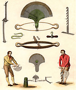 Dynamometer, an instrument for measuring mechanical force or power, designed by the French civil engineer Edme Regnier (1751-1825). Engraving from 'Encyclopaedia Londinensis' (London, 1803).