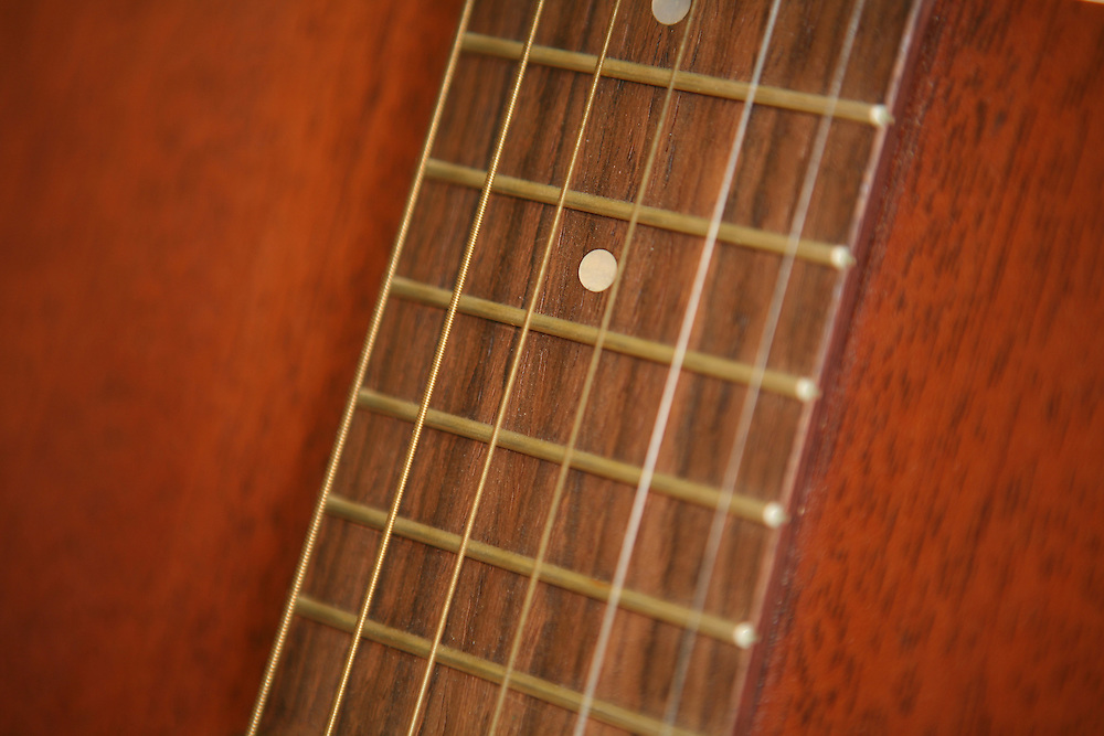 The strings of an acoustic guitar.