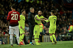 MANCHESTER, ENGLAND - Thursday, April 11, 2019: Barcelona's Philippe Coutinho is replaced by substitute Arturo Vidal during the UEFA Champions League Quarter-Final 1st Leg match between Manchester United FC and FC Barcelona at Old Trafford. Barcelona won 1-0. (Pic by David Rawcliffe/Propaganda)