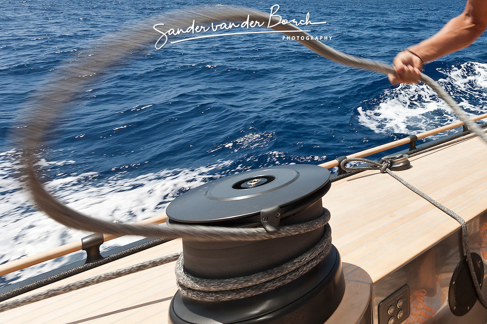 Onboard Firefly during the Super Yacht Cup, Palma de Mallorca, June 24th 2011 © Sander van der Borch