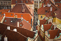 Aerial view of downtown Prague and  typical red roofs.