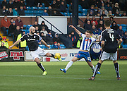 Dundee&rsquo;s Gary Harkins and Kilmarnock&rsquo;s Kevin McHattie - Kilmarnock v Dundee, Ladbrokes Premiership at Rugby Park<br /> <br />  - &copy; David Young - www.davidyoungphoto.co.uk - email: davidyoungphoto@gmail.com
