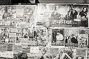 Movie posters on a wall in Varanasi (Benares), India.