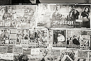 Movie posters on a wall in Varanasi (Benares), India.