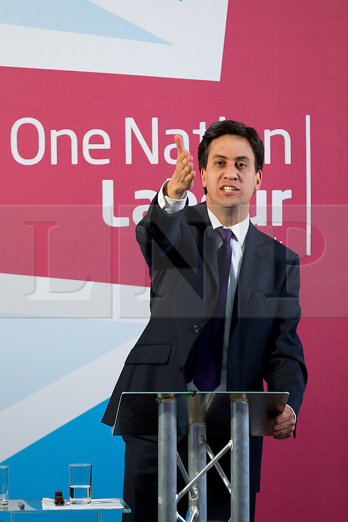 © Licensed to London News Pictures. 09/07/2013. London, UK. The British Labour Party leader Ed Miliband delivers a talk on 'One Nation Politics' at the St Bride Foundation in London today (09/07/2013). During the talk he urged changes to the way unions are linked to the Labour Party as a reaction to recent allegations of union influence on candidate selection in Falkirk. Photo credit: Matt Cetti-Roberts/LNP