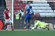 Frank Fielding (1) of Bristol City makes a save in stoppage time during the EFL Sky Bet Championship match between Bristol City and Hull City at Ashton Gate, Bristol, England on 21 April 2018. Picture by Graham Hunt.