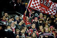 Fotball, 21. oktober 2018 , Eliteserien , Stabæk - Brann<br /> illustrasjon fan , fans flagg , skjerf , tilskuere