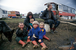 New Age traveller family on temporary caravan site; North Yorkshire UK