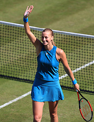 Czech Republic's Petra Kvitova celebrates winning her quarter final against Germany's Julia Goerges during day five of the Nature Valley Classic at Edgbaston Priory, Birmingham.