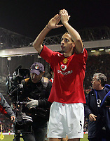 Photo: Paul Thomas.<br />Manchester United v Liverpool. The Barclays Premiership. 22/01/2006.<br /><br />Rio Ferndinand, Man Utd's goal scorer thanks the crowd after the match