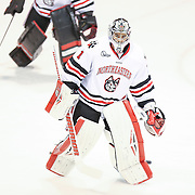 Derrick Roy #1 of the Northeastern Huskies is seen on the ice prior to the game against the Minnesota Gophers at Matthews Arena on November 29, 2014 in Boston, Massachusetts. (Photo by Elan Kawesch)