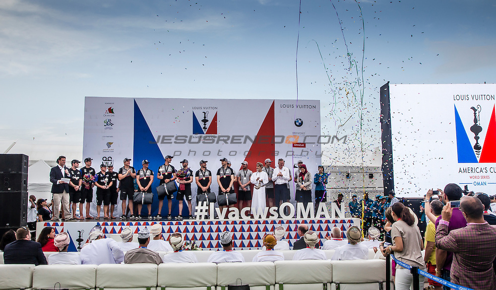 Louis Vuitton America's Cup World Series Oman 2016.Prize giving ceremony, 28th of February 2016.Land Rover BAR,Ben Ainslie,Paul Campbell-James,Giles scott,Nick Hutton,David Carr. Muscat ,The Sultanate of Oman.Image licensed to Jesus Renedo/Lloyd images/Oman Sail