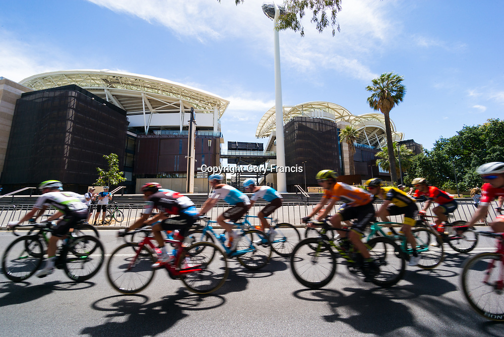 Daryl Impey (5 L) passing the Oval in Stage 6, Adelaide City Circuit, of the Tour Down Under, Australia on the 21 of January 2018 ( Credit Image: © Gary Francis / ZUMA WIRE SERVICE )
